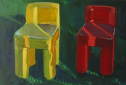 Fence Light on Yellow and Red Chair