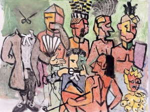 Penn as Scissors with cubist Indians