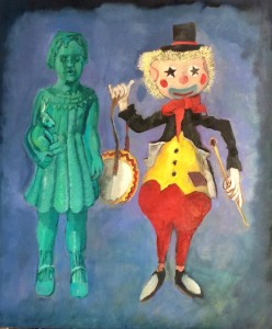 Green Girl and Dave's Clown, oil on wood, 34.5 x 29.25